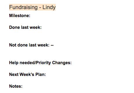 Lindy's Example Meeting Agenda