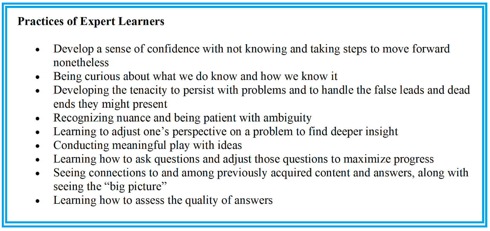 Practices of Expert Learners